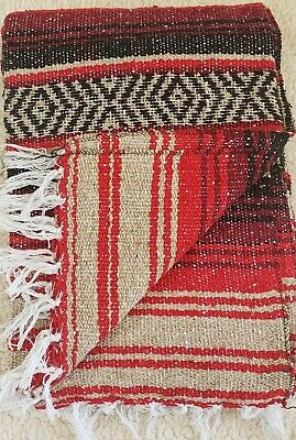 """Authentic Red/Black/Tan Mexican Throw Blanket-Yoga Mat Blanket 74""""X50"""""""