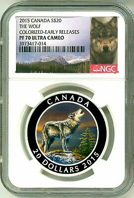 2015 Canada S$20 The Wolf Colorized Early Release NGC PF70 Ultra Cameo