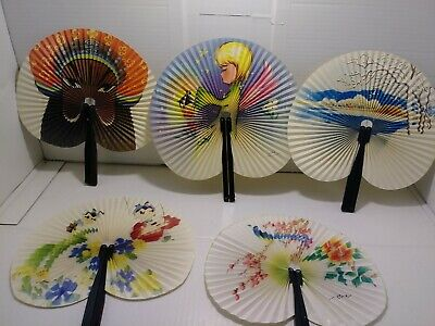 Chinese Hand Fands. Set Of 5 Great Color