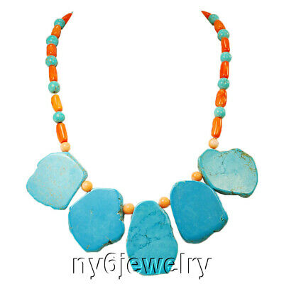 Blue Magnesite Turquoise & Orange Coral Beads Necklace w/Silver Plated Clasp 19""