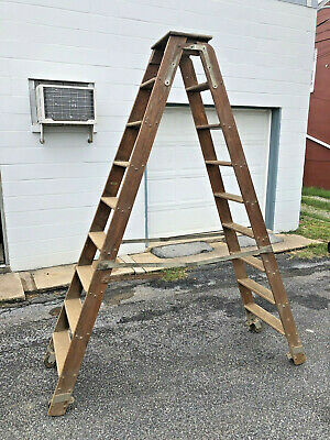 Vintage 8' OAK PUTNAM LIBRARY LADDER wood folding wooden rolling display rack ft