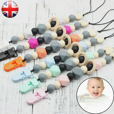 Baby Dummy Clip Holder Pacifier Clips Teething Silicone Beads Soother Chains UK