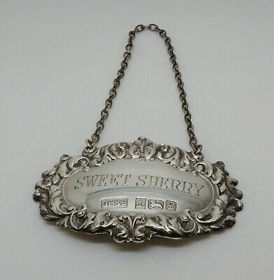 Vintage 1978 English Sterling Hallmarked Sweet Sherry Decanter Bottle Label Tag