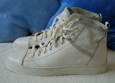 United Colour of Benetton Ladies High Top Trainers Shoes 100%  Leather Ivory 3UK