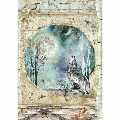 NEW Stamperia A4 Rice Paper Cosmos Wolf and Moon DFSA4388
