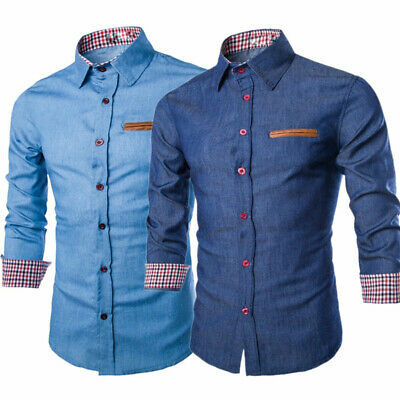 Men's Casual Denim Jeans Shirt Long Sleeve Slim Fit Cotton Dress Shirts Tops AU