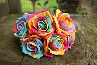 6 x RAINBOW  COLOURFAST FOAM COTTAGE ROSES 6cm WEDDING FLOWERS