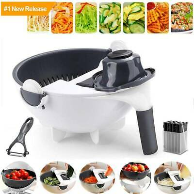 Magic Rotate Vegetable Cutter Chopper Fruit Grater Slicer with Drain Basket