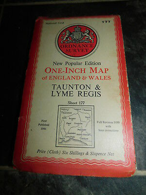 Ordnance Survey CLOTH map #177 Taunton & Lyme Regis 1946 One Inch Map