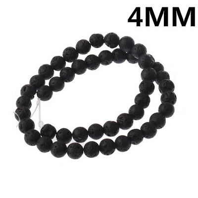 4mm Black Round Lava Stone Loose Beads 15 inches Opaque Stone Natural Accessorie
