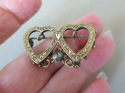 Antique Vintage English Victorian Gold F Sweetheart Heart Charm Brooch Pin Old