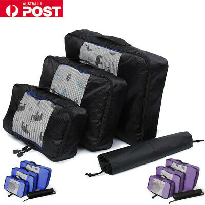 5Pcs Packing Cube Travel Pouch Luggage Organiser Clothes Suitcase Storage Bags