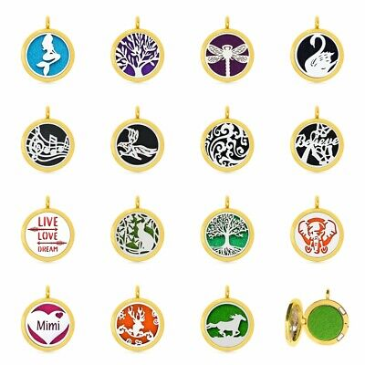 30mm Alloy Pendant Gold Color Aromatherapy Essential Oil Diffuser Locket