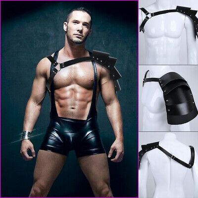 Black Men's Leather Chest Body Harness Gay Interest Buckles Clubwear Costume