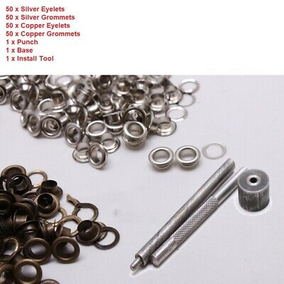 100 Sets Eyelet Grommet Washer Kit Punch Die Tool Leather Craft DIY 10mm 12mm