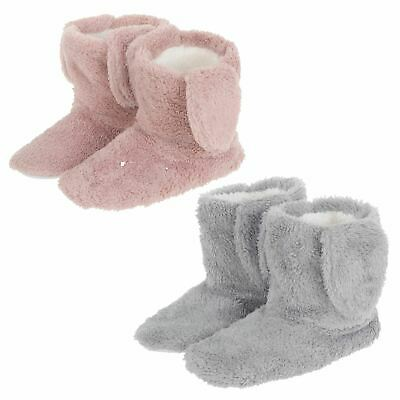 Womens Bunny Ear Bootie Slippers Warm Ladies Boots Sherpa Lining Non Slip Sole