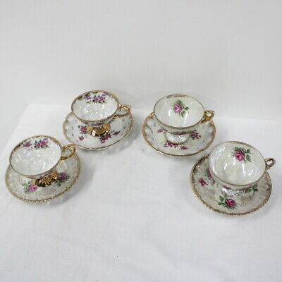 4x Japanese Pearl Lustre & Floral Gold Gilt China Teacups & Saucers #710