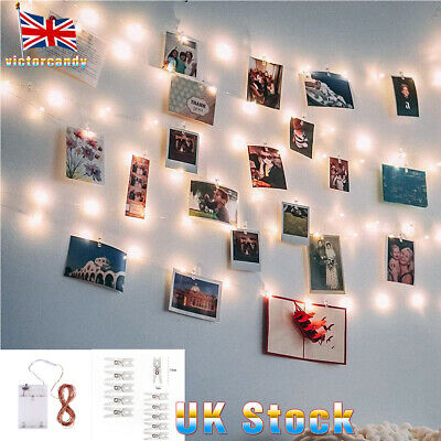 10-50 Photo Window Hanging Peg Clips LED String Lights Home Party Fairy Decor