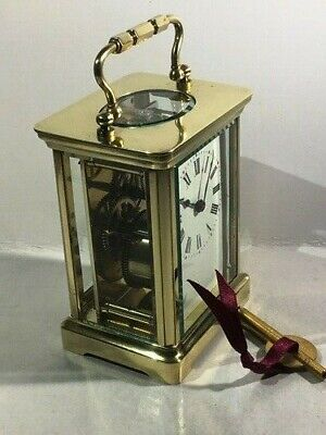 Antique French brass carriage clock & key. Restored and serviced August 2019