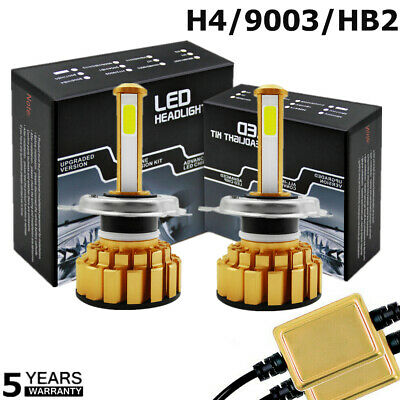 2X H4 Car LED Headlight Bulbs Kit 100W 20000LM High Low 6000k Canbus Free Error