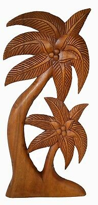 Hand Carved Wood Wall Art Palm Tree Tropical Island Beach Nautical Mahogany Tiki