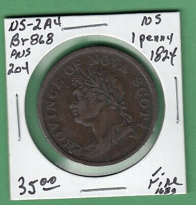 1824 Nova Scotia One Penny Token - NS-2A4 - Fine
