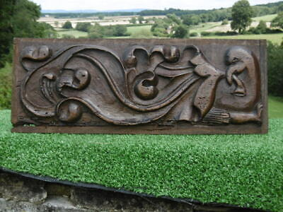 SUPERB Circa 17thc OAK PANEL WITH DOVE & THE ARM OF A MAN BELOW C.1690'S