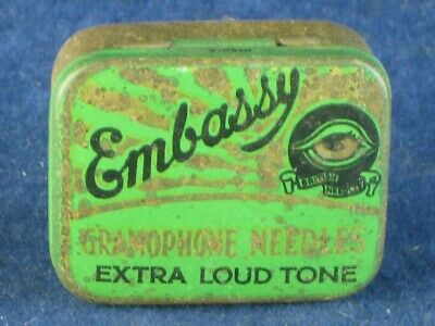 36818 Old Antique Vintage Gramophone Needle Tin Box Record Player Embassy