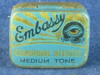 36795 Old Antique Vintage Gramophone Needle Tin Box Record Player Embassy