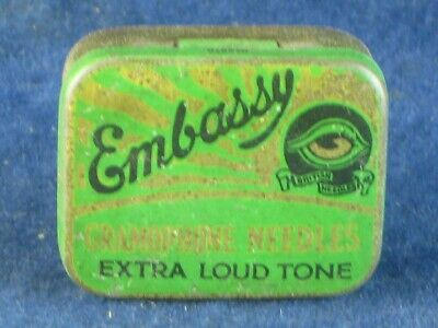 37013 Old Antique Vintage Gramophone Needle Tin Box Record Player Embassy
