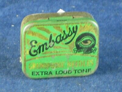 36799 Old Antique Vintage Gramophone Needle Tin Box Record Player Embassy