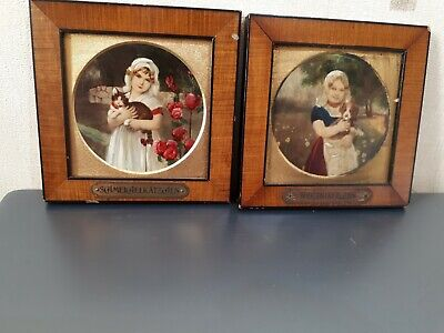 Pair  Of  Antique German  Miniature  Oil  Paintings   Of Young  Girl  &  Pets