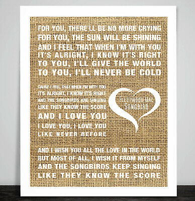 THE BEATLES IN My Life Music Song Lyrics Textured Hessian
