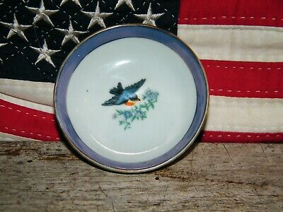 Vintage  Japanese/Chinese Hand Painted Dish T-Bowl With Bird Motif Marks To Back