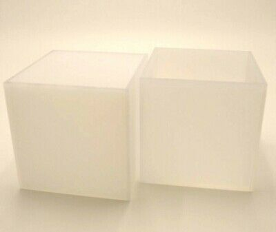 Perspex® Acrylic Plastic Cube Display Frosted Opal 5 Sided Box Tray Retail Shop