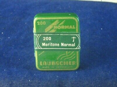 37663 Old Antique Needle Tin Gramophone Box Case Full Of Needles Laubscher
