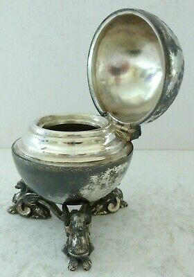 Antique Silver Plate EPBM Griffin Sphinx Globe Inkwell Neoclassical Desk Top