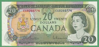 1969 Bank of Canada $20 Dollar Note - Beattie/Rasminsky - EG0240774 - AU