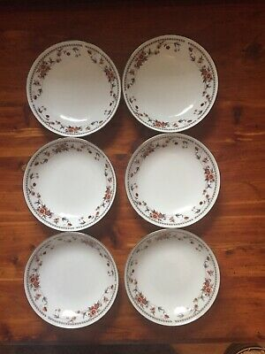 "Sheffield Anniversary Porcelain Fine China SET OF 6 Fruit Bowls 5.75"" across"