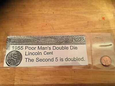 """1955/5 """"Poor Man's"""" Double Die Lincoln Wheat Cent/Penny"""