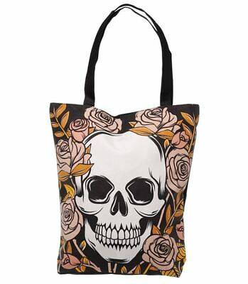 Skulls And Roses Zip Up Cotton Tote Shopper Shoulder Shopping Bag New With Tags