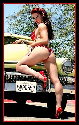 """4.5"""" Hot rod Pin-Up girl vinyl sticker. NHRA Drag race decal for car or tool box"""