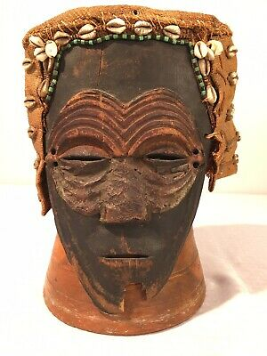 Antique African Kuba Congo Old Carved Wooden Mask Copper Beads Shells Woven Hat