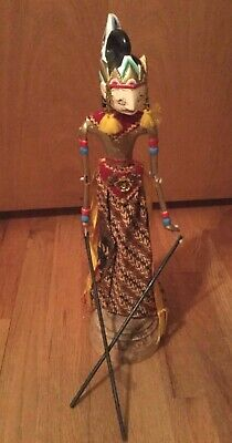 Vintage Asian Oriental Folklore Hand Painted Carved Wooden Hand Rod Puppet 18""