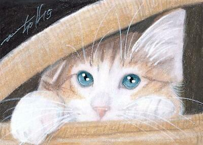 ACEO original pastel drawing ginger kitten red cat by Anna Hoff