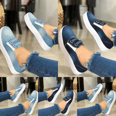 Women Elastic Slip On Denim Trainers Pumps Ladies Casual Flat Loafers Shoes Size