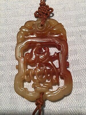 VINTAGE Chinese CARVED Jade Jadeite SOAPSTONE PENDANT Necklace