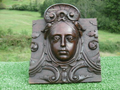 SUPERB 19thc MAHOGANY CARVED PANEL WITH ART NOUVEAU FEMALE HEAD IN RELIEF