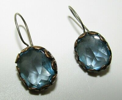 Unusual, Antique Victorian Blue Rock Crystal Quartz Sterling Silver Earrings