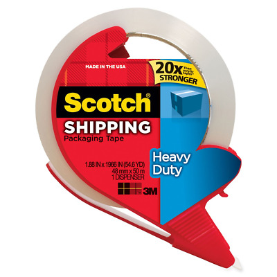 "Scotch Heavy Duty Shipping Packaging Tape with Refillable Dispenser, 3"" Core, x"